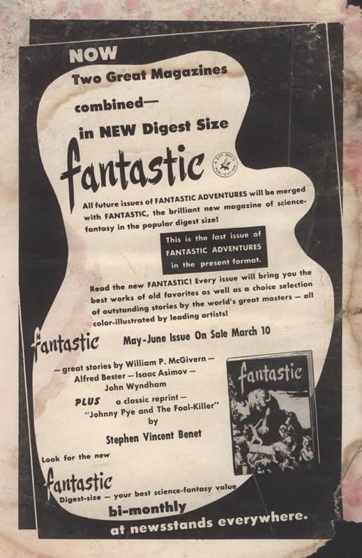 Fantastic Adventures, March 1953 advertisement