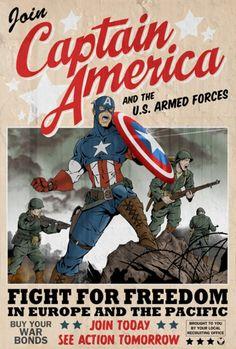 World War II Captain America poster
