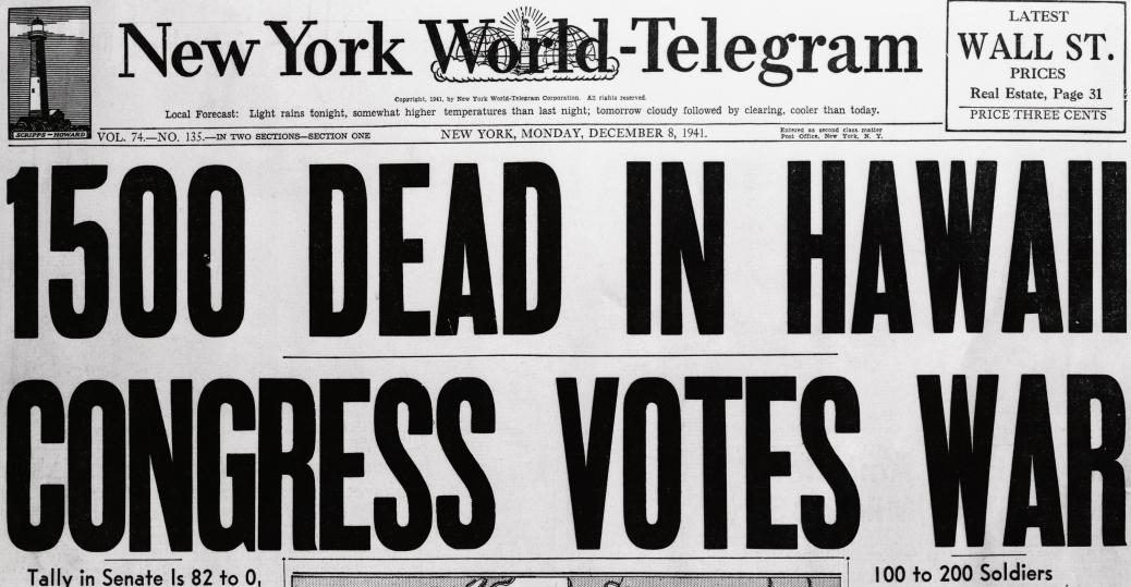 World War II headline
